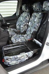 Grey Camo Tailored Waterproof Seat Covers for Ford Transit Connect 2014-2018