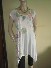 New Look ~ Cream Vintage Floral Rose Print Bling Tunic Top ~ Size 10 ~ BNWT New