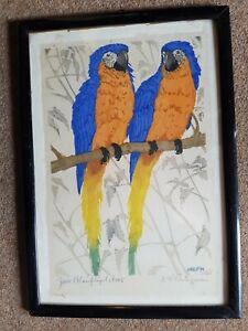Blauflügel Ara Papagei Jugendstil Martin Erich Philipp MEPH Zwickau Dresden