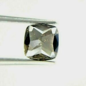 Big Natural Diamond 2.09TCW Brownish Gray Sparkling Cushion Rose cut for Gift