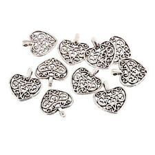 10pcs Heart Pattern Beads Charms Tibetan Silver Pendant DIY Bracelet 16*15mm