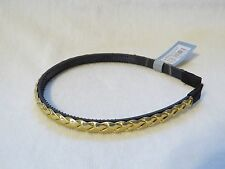 NEW SHINY GOLD TONE BRAIDED FAUX LEATHER HEADBAND FASHION HAIR PIECE W/ TEETH