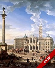 CHURCH PIAZZA OF SANTA MARIA MAGGIORE ROME ITALY PAINTING ART REAL CANVASPRINT