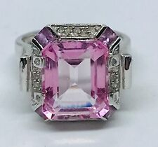 Pink Topaz and Diamond White Gold Ring 14ct White Gold   Size M