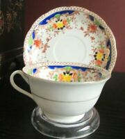 Hand Painted Flowers Signed JAPAN Tea Cup Saucer Fine China Cobalt BLUE w Gold!