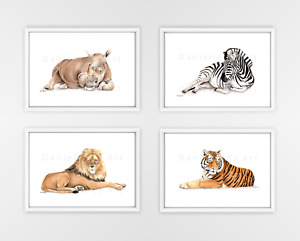 Watercolour Safari Animal Print Set - jungle animals, nursery prints