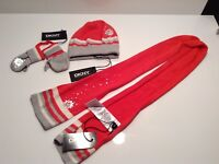 BNWT DKNY Girls Coral & Silver Hat Scarf & Gloves Set Age 1-2 Years RRP £49