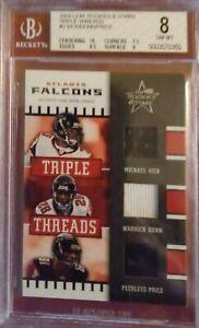 NFL 2004 Leaf Rookies & Stars Triple Threads #TT2 VICK/DUNN/PRICE BGS NM-MT