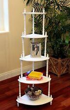 "New Traditional Decorative 5 Tier Corner Shelf, 50"" White finish wood sturdy"