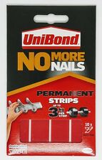 Unibond No More Nails Permanent 10 Strips 20mm x 40mm Double Sided Grab Tape