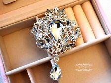 3.75'' Ex Large Dangling Rhinestone Brooch Pin Crystal Wedding Bouquet Bridal