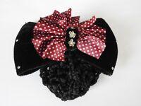 red velvet bow crystal hair net barrette cover bun clip air dance office work