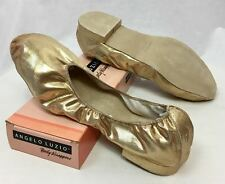 Body Wrappers Angelo Luzio Veena Gold Metallic Foldable Slippers, Womens 9M New