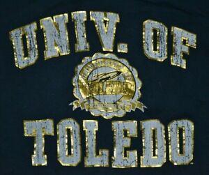 Womens Toledo Rockets Retro Athletics T Shirt Medium OH UT Champion Gold Foil