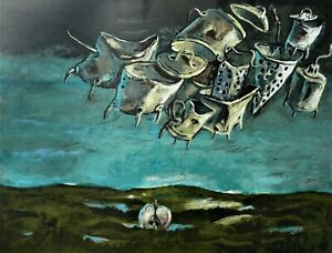 Yosl BERGNER The End of the Party - Surreal Original Signed Screenprint, Jewish