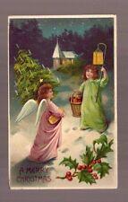 1908 MERRY CHRISTMAS POSTCARD LITTLE GIRL ANGEL TREE CHURCH STAR German Nebraska