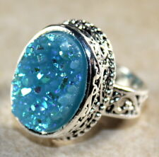 SILVER Vintage Style Sky Blue Rainbow Titanium Druzy Oval Ring Size 9, WR11103