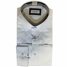 White Label - 8147 White/blue Tapered Fit Dress Shirt