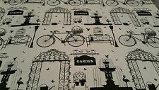 ROMAN BLIND BLACKOUT GARDEN PERGOLA WATER FOUNTAIN BIKE BLACK AND CREAM