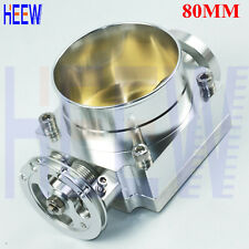 "Silver Universal 80MM 3.15"" Throttle Body High Flow Aluminum Intake Manifold 1PC"