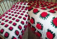 Vintage GRANNY AFGHAN Handmade RED ROSES Bedspread Coverlet FULL LARGE Flowers