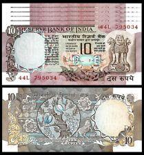 INDIA 10 RUPEES 1970-1990  UNC 5 PCS CONSECUTIVE LOT P-81g SIGN 85 W/H LETTER C