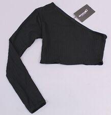 PRETTYLITTLETHING Women's One Shoulder Rib Crop Top LL1 Black Size US:4 UK:8 NWT
