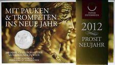 Österreich 5 Euro 2012 Musikfreunde Wien Handgehoben Prosit Neujahr im Blister