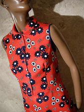 CHIC VINTAGE ROBE 1970 PIQUé COTON VTG POP DRESS 70s KLEID 70er ABITO (38)