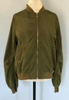 Women's Bomber Jacket Green Zipper Closure Pockets by It Girl NWT XL Polyester