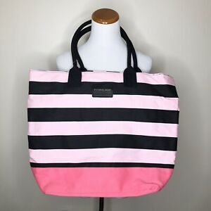 Victoria's Secret Pink Striped Canvas Tote Beach Bag