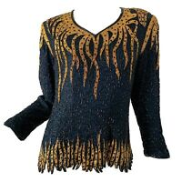 Vintage 80s Beaded Sequin Silk Disco Lightening Glam Party  Blouse Medium