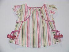 """Gymboree """"Tea Garden"""" Vintage Striped White Swing Top, 3-6 mos."""