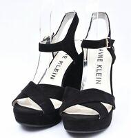 Ann Klein AK7LALIMA Suede Leather Retro Black Lalima Platform Sandals Heels Sz 8
