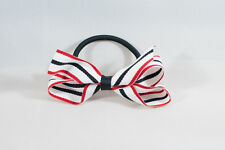 Unit of 10 Medium 3 Inch White/Black/Red Stripe Hair Bows on elastics Grosgrain