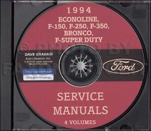 1994 Ford Truck Shop Manuals on CD F150 F250 F350 Pickup Bronco Econoline Diesel