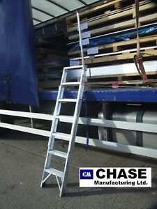 Industrial vehicle cargo step ladders with folding hand post