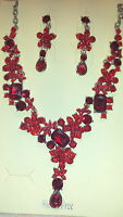 Red colour  Diamante Flower crystal Necklace & earrings set Silver colour chain