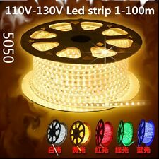 110V Waterproof led strip 5050 flex RGB Led light US Plug 1m 2m 5m 10m 20m 100m