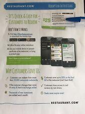 $25 Restaurant.com Gift Card choose 1000's Restaurants Nationwide No Expiration!