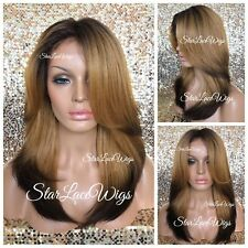 Human Hair Blend Lace Front Wig Dark Auburn Strawberry Blonde Layers Heat Safe