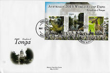 Tonga 2013 FDC Australia World Stamp Expo 3v Sheet Cover Koala Kangaroo Wildlife