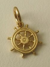 SOLID  9K  9ct  Yellow  Gold  3D  SHIP WHEEL HELM  CHARM/PENDANT