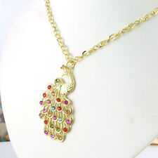 Wholesale 1Pcs Super Fashion Charm Jewelry Colorful Crystal Peacklace Necklace