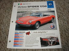 Italy 1967-1971 Alfa Romeo Spider 1750 Hot Cars Group 3 # 52 Spec Sheet Brochure