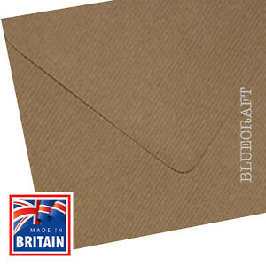 500 box x  Vintage Brown Ribbed Kraft 155mm Square 100gsm Envelopes - 6 inches