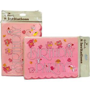 Vintage Hallmark Birthday Party Invitations 16 Cards Envelopes Pink Baby Animals