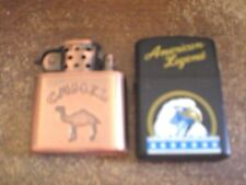 Vintage Pair Lighters Camel Copper & American Legend Used, Not Tested
