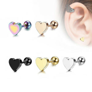 Helix Piercing Tragus Ring Bar Cartilage Ear Stud Earrings Heart Stainless Steel