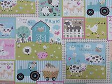Clarke and Clarke Farm Yard Pastel Sheep Dogs Curtain Craft Upholstery Fabric